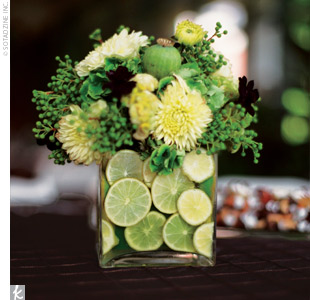 Flower arrangement with limes